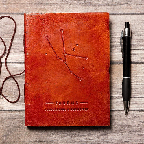 Taurus - Handmade Leather Journal - Zodiac Collection