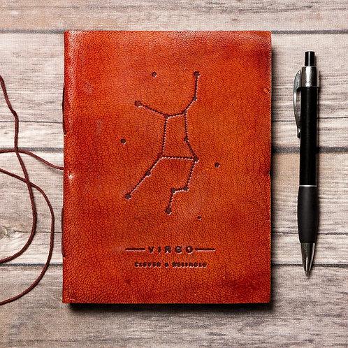 Virgo - Handmade Leather Journal - Zodiac Collection