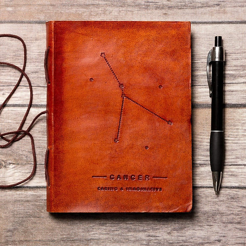 Cancer - Handmade Leather Journal - Zodiac Collection