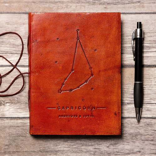 Capricorn - Handmade Leather Journal - Zodiac Collection
