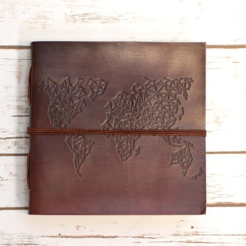 Square Handmade Leather Journal - World Map