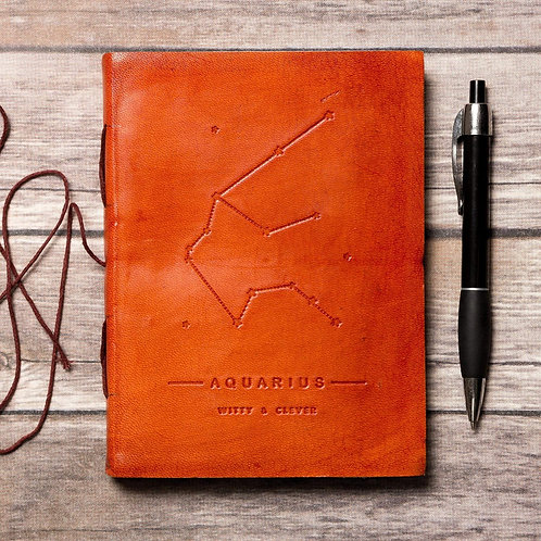 Aquarius - Handmade Leather Journal - Zodiac Collection