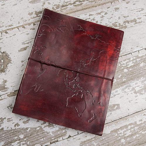 Handmade Leather Journal - Extra Large World Map
