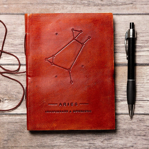 Aries - Handmade Leather Journal - Zodiac Collection