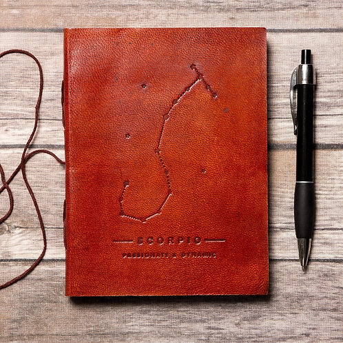 Scorpio - Handmade Leather Journal - Zodiac Collection