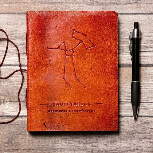 Sagittarius - Handmade Leather Journal - Zodiac Collection