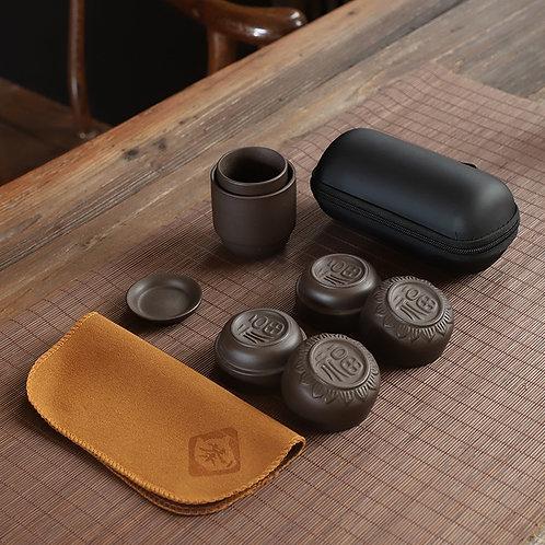 Purple Clay Tea Cup Travel Set