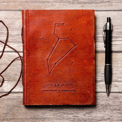 Leo - Handmade Leather Journal - Zodiac Collection