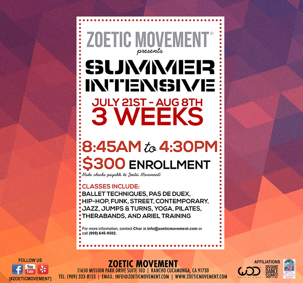 Summer Intensive Enrollment 2014