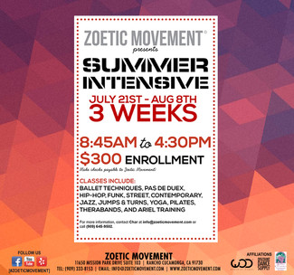 Sign-up for Summer Intensive: July 21-August 8