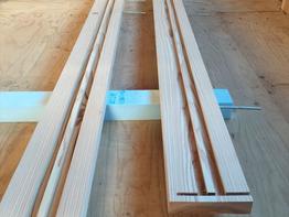 外部木製建具のための大工造作。手加工で作ります。