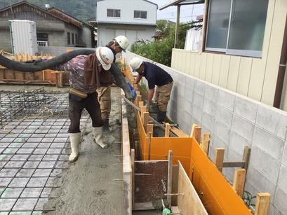 基礎コンクリート一体打ち。