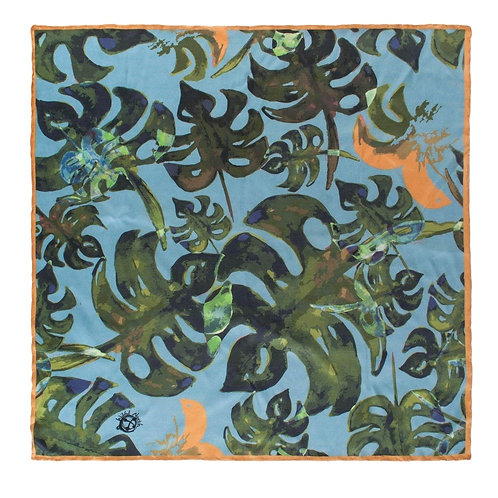 """Tropical Leaves"" Silk Pocket Square"