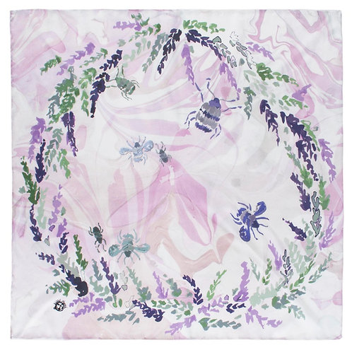 """Lucky Heather"" Silk Scarf"