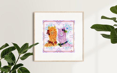 Alpaca Pair Art Print
