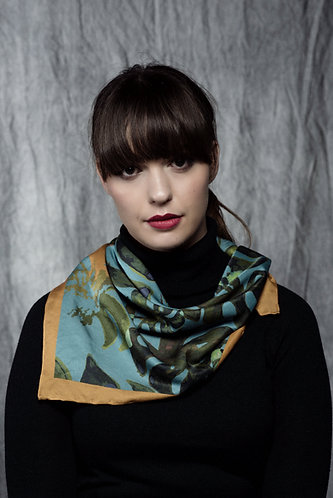 """Tropical Leaves"" Silk Scarf"