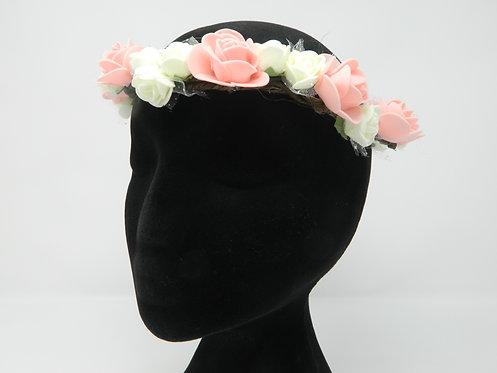 White and Peach Flower Crown 54 cm