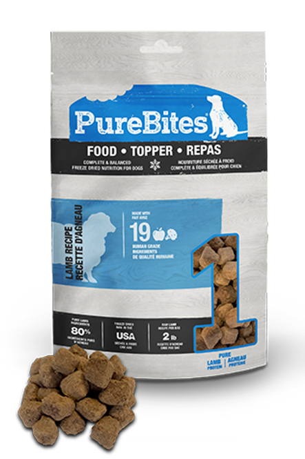 Recette lyophilisée à l'agneau - Food Topper PurebItes pour chien
