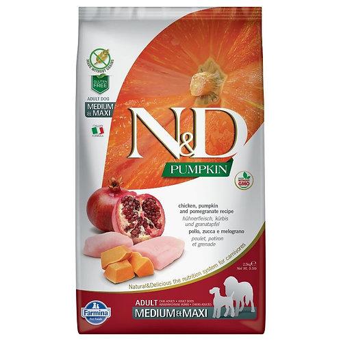 Farmina N&D Citrouille Sans Grain Chien Poulet et Grenade Moyen-Grand