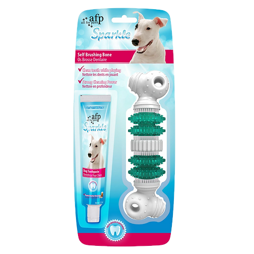 Brosse a dents Sparkle All for Paws avec dentifrice os pour chien Animal Expert St-Bruno