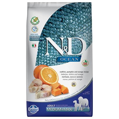 Farmina N&D Ocean Sans Grain Chien Morue Citrouille et Orange Moyen et Grand