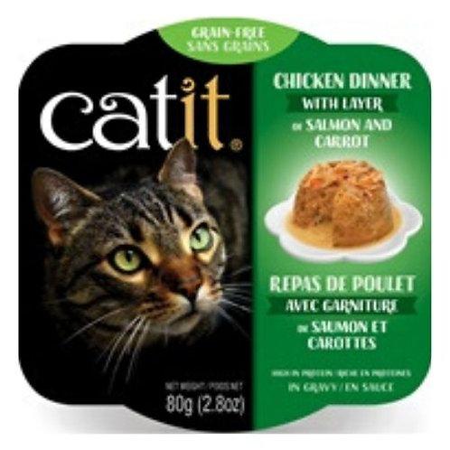 Repas de Poulet Catit pour Chat Saumon et Carottes