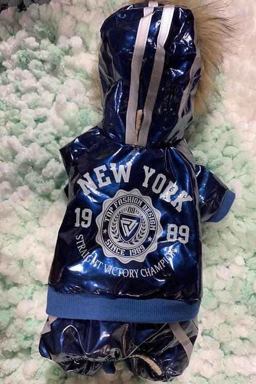 Manteau bleu imprimé New-York Dobaz Limited pour chien