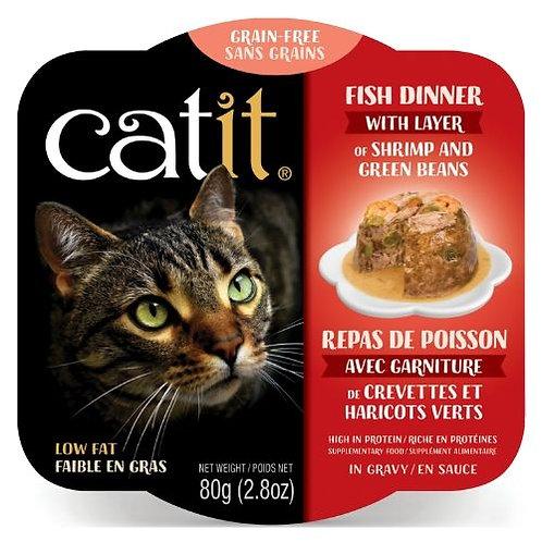 Repas de Poisson Catit pour Chat Crevette et Haricot Vert