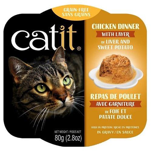 Repas de Poulet Catit pour Chat Foie et Patate Douce