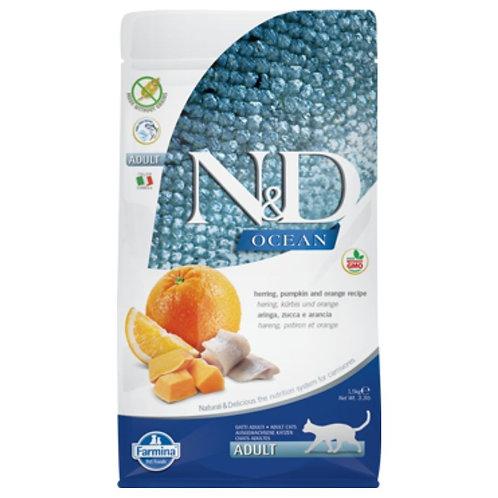 Farmina N&D Ocean Sans Grain Chat Citrouille, Hareng et Orange