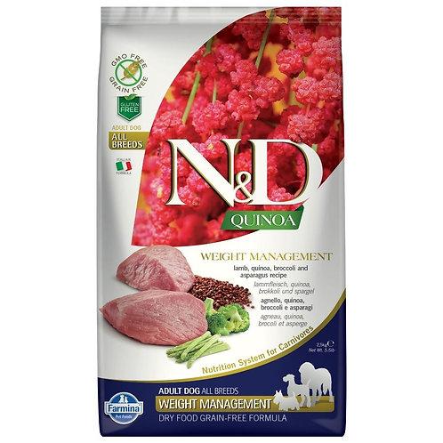 Farmina N&D Quinoa Sans Grain Chien Contrôle du Poids Agneau