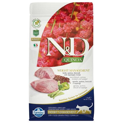 Farmina N&D Quinoa Sans Grain Chat Contrôle du Poids Agneau