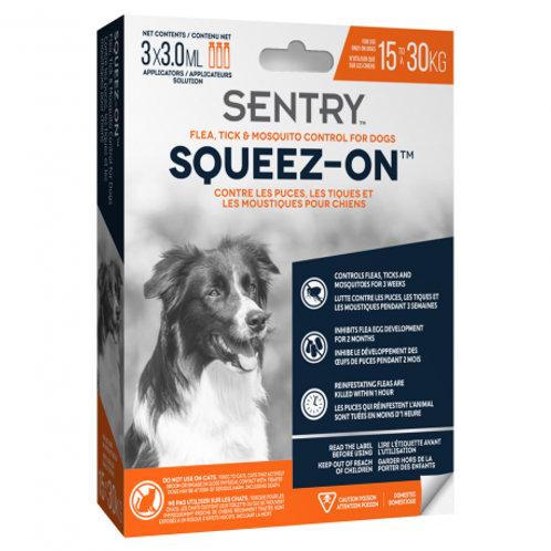 Tube à presser anti puces, tiques et moustiques Squeez-On Sentry chien 15-30 kg Animal Expert St-Bruno