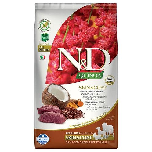 Farmina N&D Quinoa Sans Grain Chien Peau et Poils Venaison