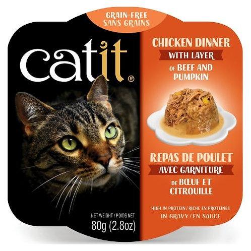Repas de Poulet Catit pour Chat Boeuf et Citrouille