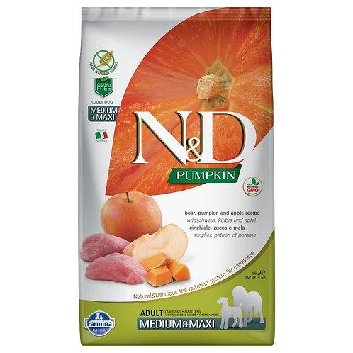 Farmina N&D Citrouille Sans Grain Chien Sanglier et Pomme Moyen-Grand
