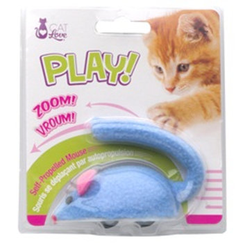 Souris à roulettes bleue Cat Love