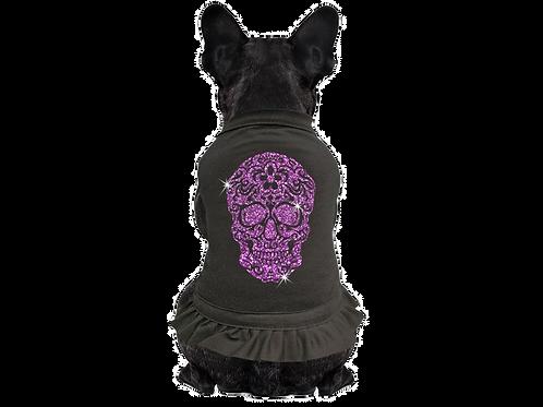 Chien fou Gothic noir et violet et dentelle tete de mort Animal Expert St-Bruno
