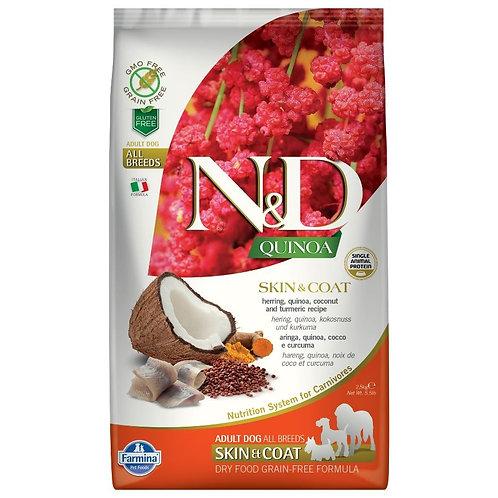 Farmina N&D Quinoa Sans Grain Chien Peau et Poils Hareng