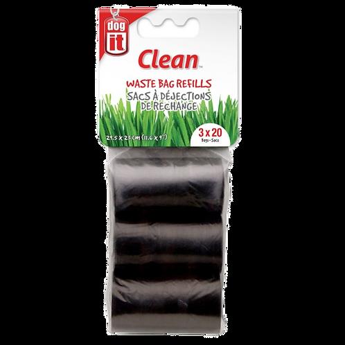 Sacs a dejections Dogit Clean noirs 3 rouleaux Animal Expert St-Bruno