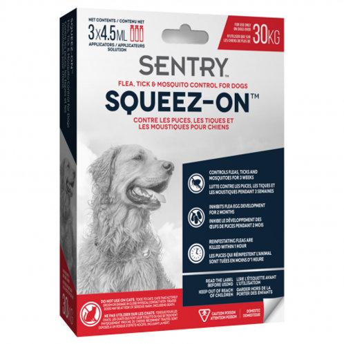 Tube à presser anti puces, tiques et moustiques Squeez-On Sentry chien +30 kg Animal Expert St-Bruno