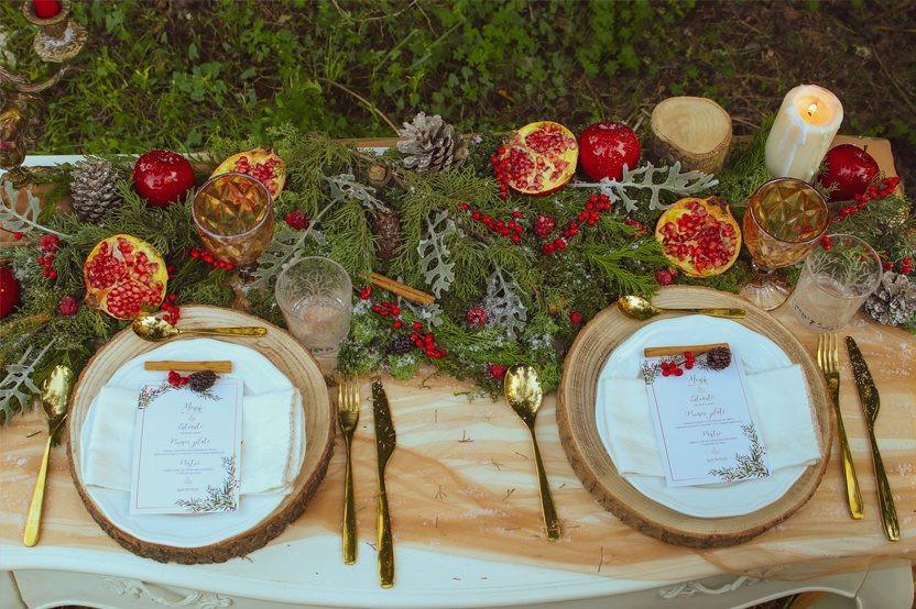 Decoración mesa boda invierno