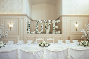 Top table dressing with floral LOVE letters