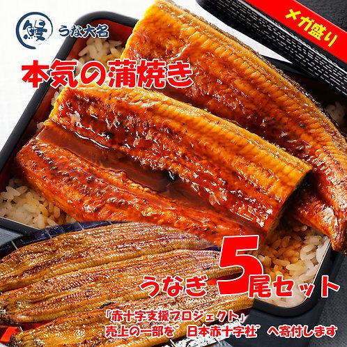 【メガ盛り 松セット】本気の蒲焼き 超特大サイズ5尾  (約390g×5尾)