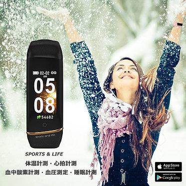 E98s(ブラック) トータルヘルスケア スマートブレスレット 体温計測 心拍計測 血中酸素計測 血圧測定 睡眠計測 IP67防水 着信通知 日本語対応