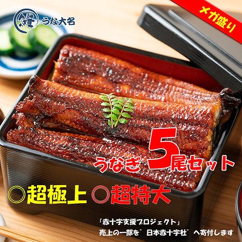 【メガ盛り 竹セット】本気の蒲焼き 特大サイズ5尾 (約280g×5尾)