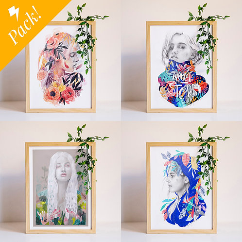 Pack 4 láminas pequeñas (a elegir)// Pack 4 small prints (of your choice)