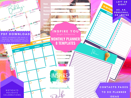 Monthly Planner insert download a5, a4, personal and letter