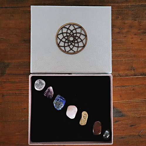 Chakra Balancing kit 7 Crystal Healing Tumbled Stones Set gemstone mandala box