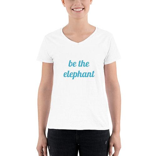 Be the Elephant. Women's Casual V-Neck Shirt